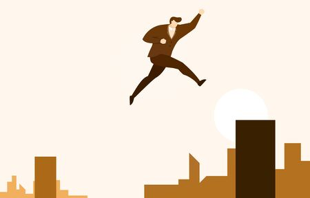 Businessman Jump Long High to Next Level Up for Success Vector Illustration
