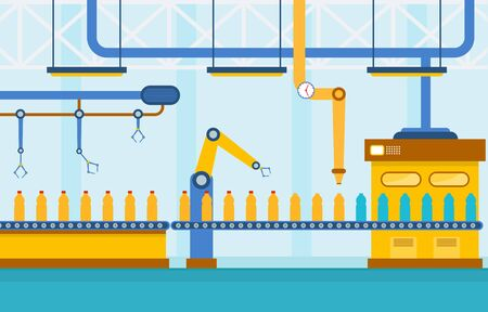 Industry Factory Concept Conveyor Automatic Production Robotic Assembly Illustration