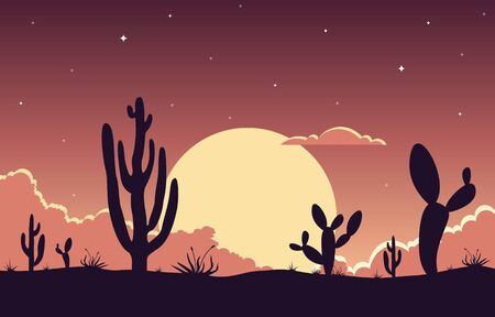 Day in Vast Western American Desert with Cactus Horizon Landscape Illustration Vektoros illusztráció