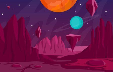 Landscape Surface of Planet Sky Space Science Fiction Fantasy Illustration Ilustración de vector