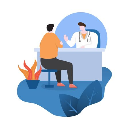 Doctor Provide Consulting Service to Patient at Work Desk Flat Design Illustration