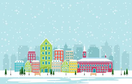 Winter Snow in Copenhagen City Cityscape Skyline Landmark Building Illustration