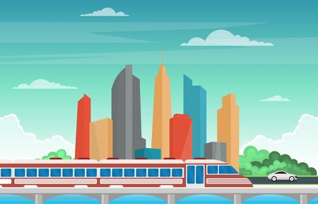 Railway Railroad Side Public Transport Commuter Metro Train Landscape Illustration