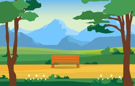 Summer Park Green Nature Field Land Sky Landscape Illustration