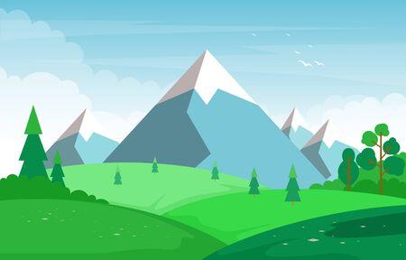 Summer Mountain Green Nature Field Land Sky Landscape Illustration 向量圖像