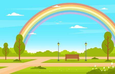 Summer Rainbow Green Nature Field Land Sky Landscape Illustration Illustration