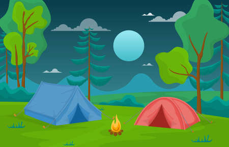 Camping Adventure Outdoor Park Woods Nature Landscape Cartoon Illustration