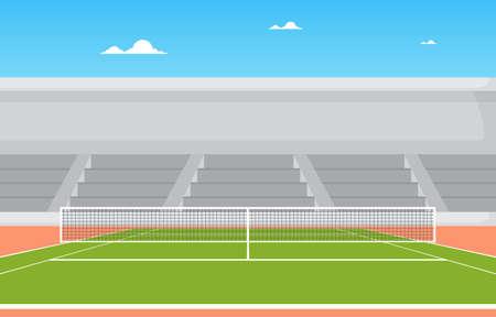 Outdoor Tennis Court Stands Sport Game Recreation Cartoon Landscape