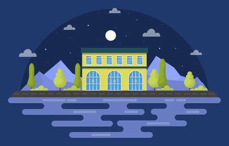 School Education Building Night Outdoor Landscape Cartoon Illustration
