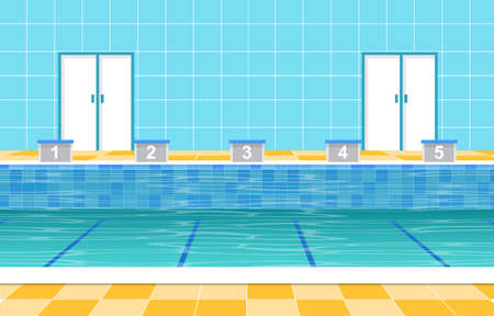 Outdoor Swimming Pool Holiday Healthy Sport Cartoon Illustration 向量圖像