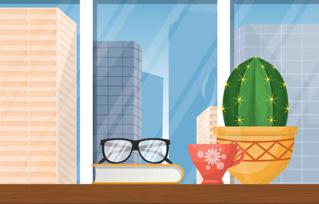 A Cup of Hot Tea on Table with Books City Skyscraper Illustration Illustration