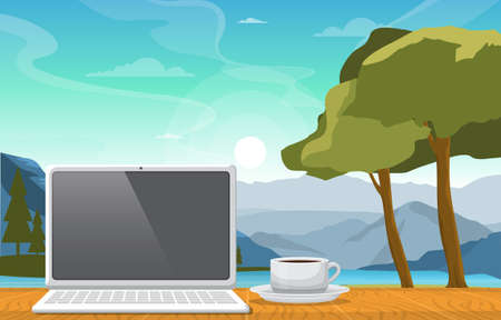 Working with a Cup of Tea on Table in Mountain Lake View Illustration Ilustracja