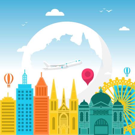 Melbourne City Australia Travel World Tourism Day Illustration Illustration