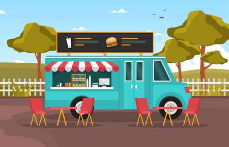 Burger Fast Food Truck Van Car Vehicle Street Shop Illustration