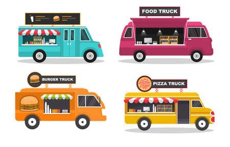 Food Truck Van Car Vehicle Transportation Street Shop Set
