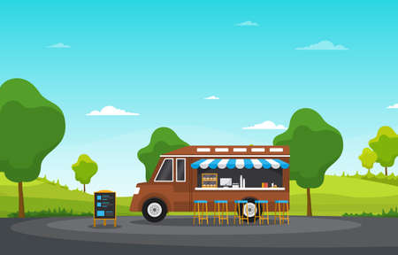 Food Truck Van Car Vehicle Street Shop Park Illustration Illustration