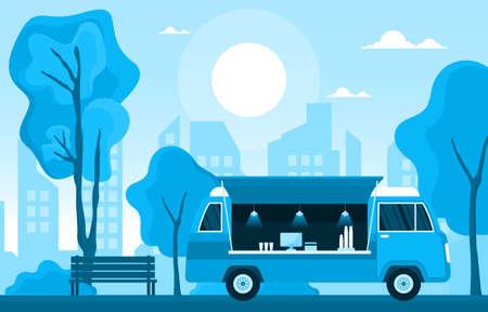 Food Truck Van Car Vehicle Street Shop City Illustration Illustration