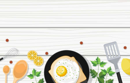 Eggs Bread on Cooking White Wooden Table Kitchen Backdrop Illustration