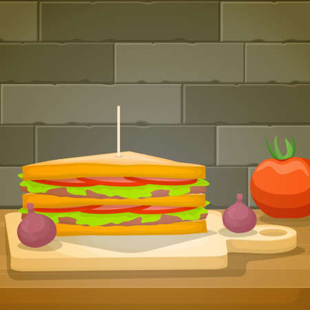 Sandwich Food Photography Delicious Tasty Menu on Table Illustration