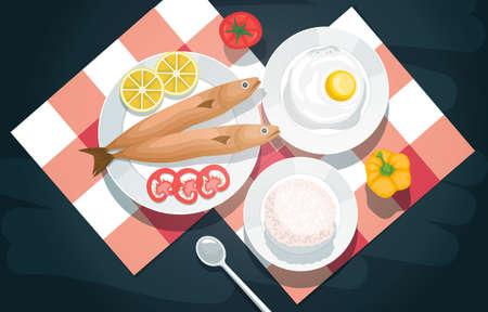 Fish Rice Food Photography Delicious Tasty Menu on Table Illustration Ilustrace