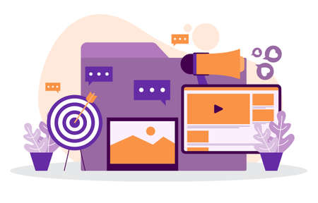 Digital Marketing Commerce Mobile Internet Web Promotion Analysis Illustration