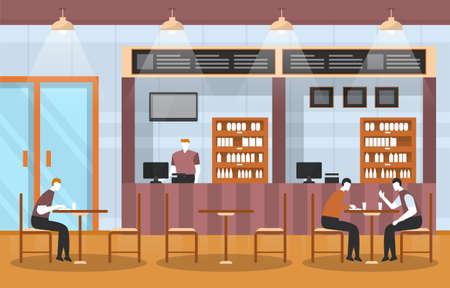 People in Food Court Indoor Interior Restaurant Cafeteria Illustration