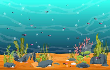 Beautiful Aquarium Fish Colorful Reef Water Plant Illustration Ilustración de vector