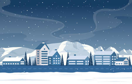 Winter Snow Pine Mountain Snowfall Rural House Landscape Illustration Vettoriali