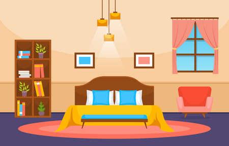 Bedroom Sleeping Room Bed Interior Design Modern House Illustration Vetores