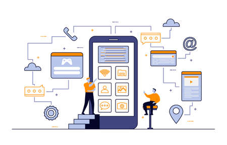 Programmer Thinking Mobile App Development Process Flat Design Illustration Vector Illustratie