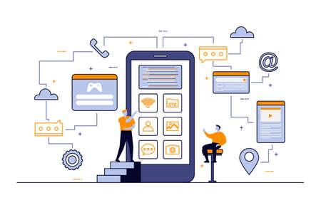 Programmer Thinking Mobile App Development Process Flat Design Illustration Ilustração Vetorial
