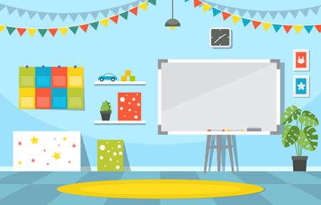 Classroom Interior Education Elementary Kindergarten Children School Illustration Vecteurs