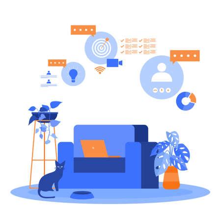 Work From Home Computer Internet Online Business Freelancer Illustration 向量圖像