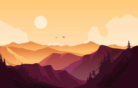 Beautiful Pine Forest Mountain Panorama Landscape Flat Illustration
