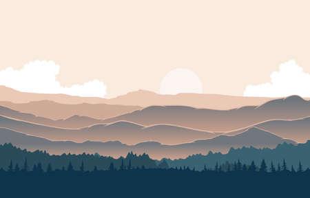 Peaceful Mountain Panorama Landscape in Monochromatic Flat Illustration Ilustração Vetorial