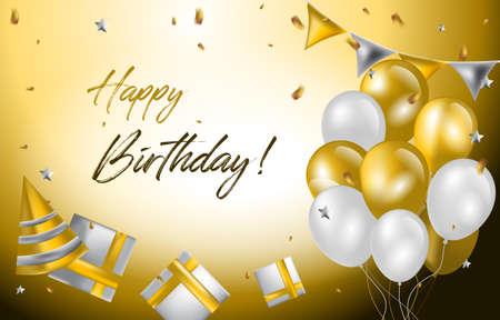 Happy Birthday Card Invitation Celebration Balloon Golden Background
