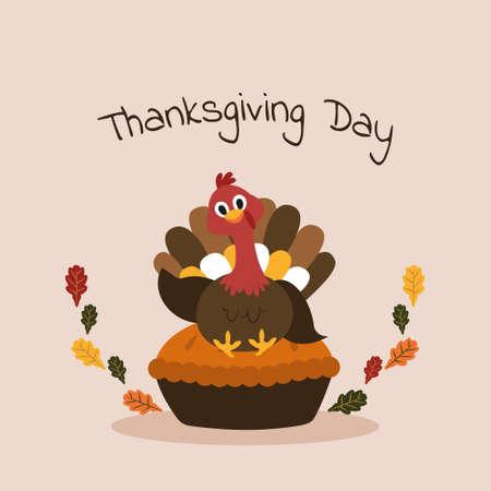 Turkey Happy Thanksgiving Day Autumn Fall Season Flat Illustration