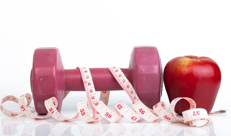 dumbell  and meature tape Stock Photo - 20395348