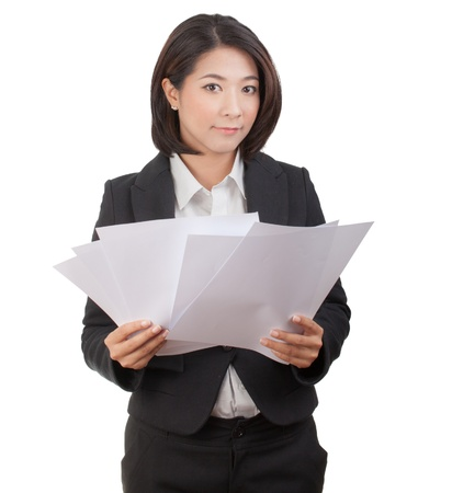 Portrait of smiling business woman with blank paper, isolated