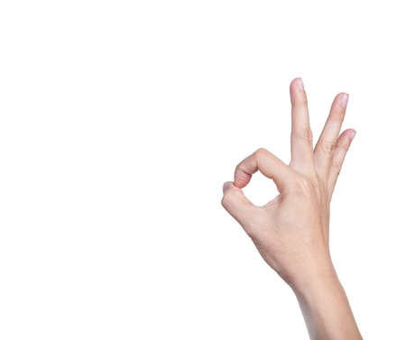 two thumbs up: Hands, fingers and numbers  On a white background  Isolated