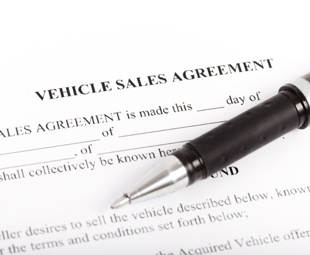 Agreement Document For Sale Of A Motor Vehicle With Car Key And