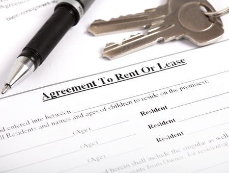 the rental agreement, close-up photo