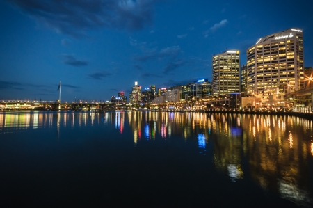 Darling Harbour the city centre of Sydney is an area of entertainment facilities and a pedestrian walkway