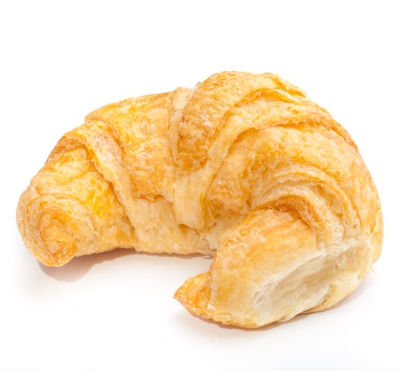 coffee and croissants on white blackground Stock Photo