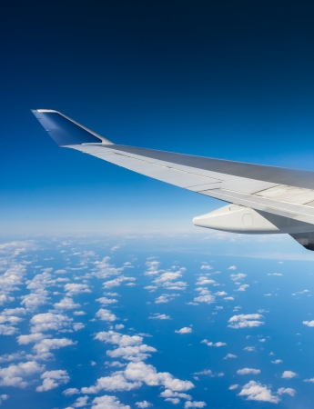 View of jet plane wing Stock Photo