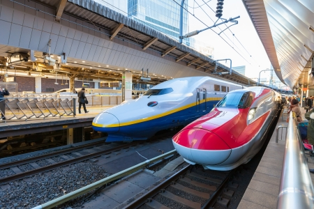 TOKYO, JAPAN - January 10: Shinkansen in Tokyo, Japan on Jan 10, 2014. Japans main islands, are served by a network of high speed train lines that connect Tokyo with most of the major cities.