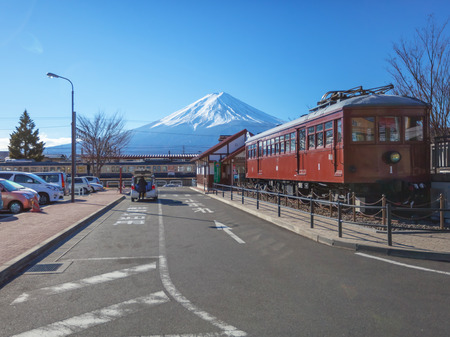 KAWAGUCHIKO,January 15 Kawaguchiko station with the veiw of fuji mountain, Japan, on January 15, 2014 Editorial