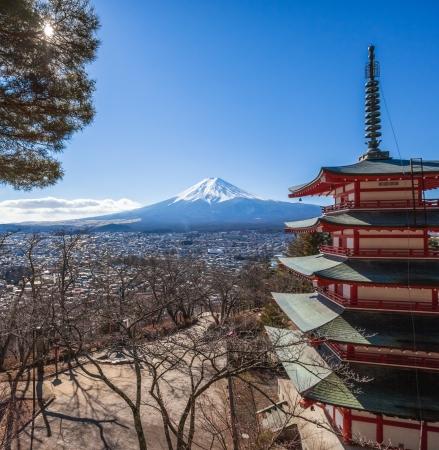 viewed from behind: Mt  Fuji viewed from behind Chureito Pagoda  Stock Photo