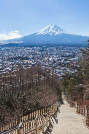Shimoyoshida stairs and Mount Fuji, japan