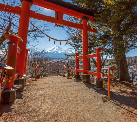 Red torii gate , near Mount Fuji